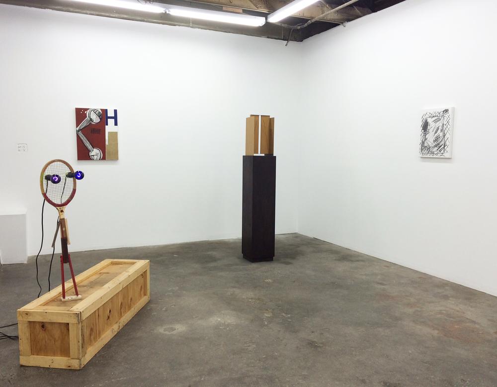 Installation shot Jon Pylypchuk, Roy Dowell, Matt Paweski, Laura Owens