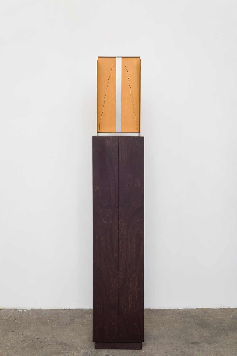 "Matt Paweski ""Drapes (Split)"", 2014 Euro Beach hardwood, steel, copper rivets, enamel and wax, 69""x12""x12"""