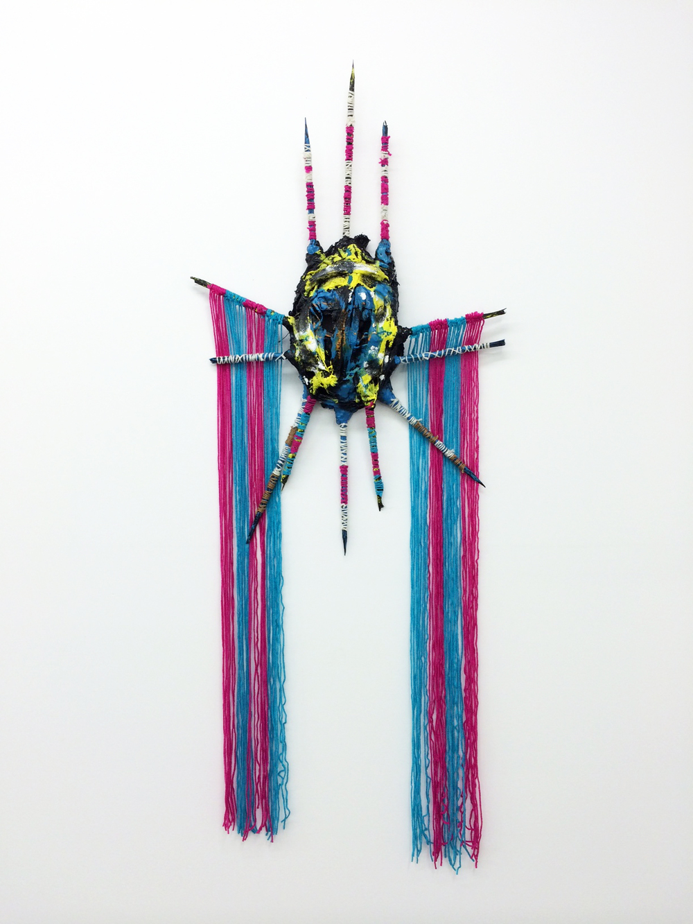 Adam D. Miller, Gunner Mask, 2014 plaster, canvas, wood, yarn, enamel and oil