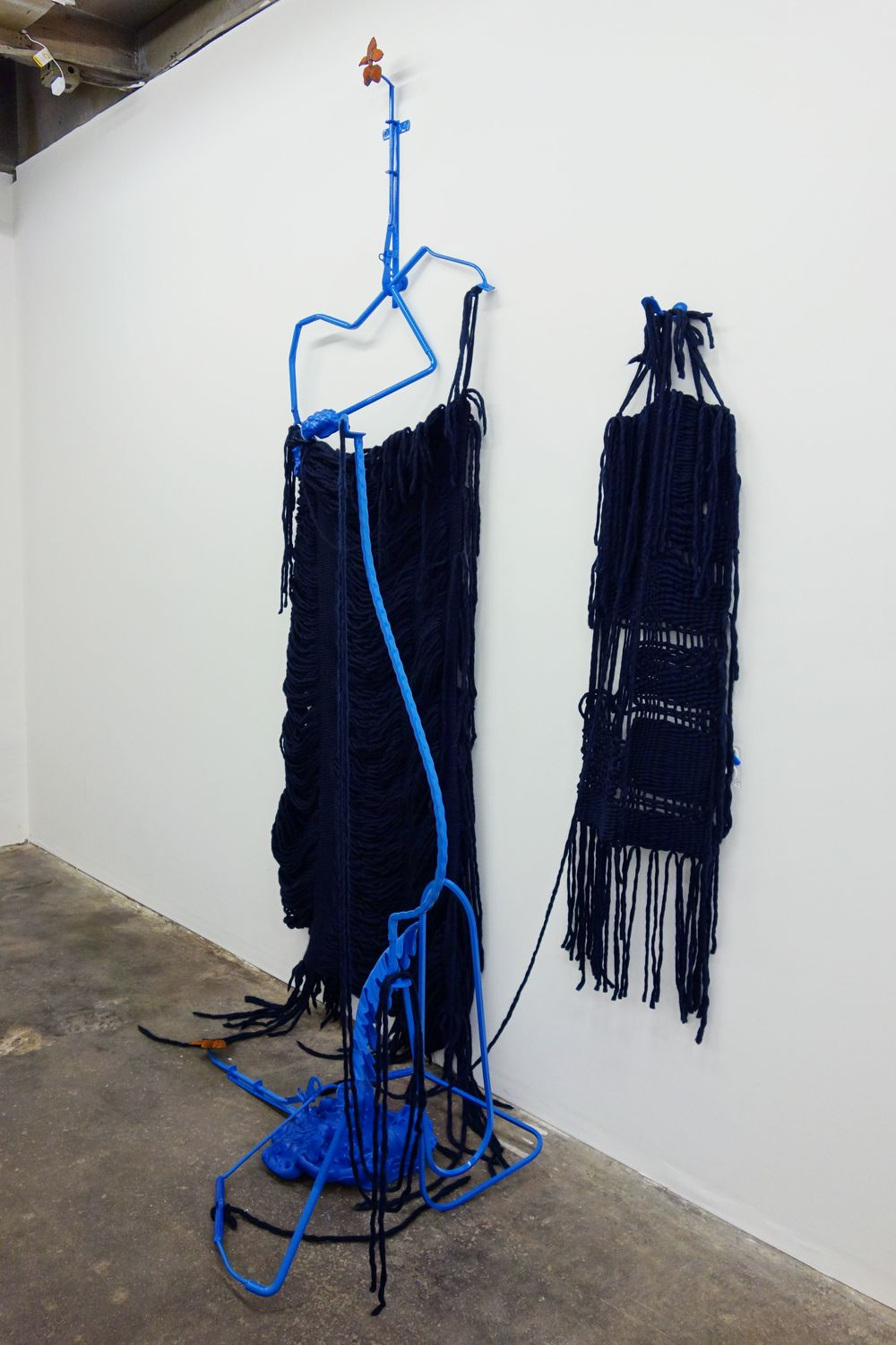 Sonja Gerdes, Pie of Trouble. Let's Hang. Berries and Balls., 2014 Found Steel, lacquer, unfired clay, and woven wool