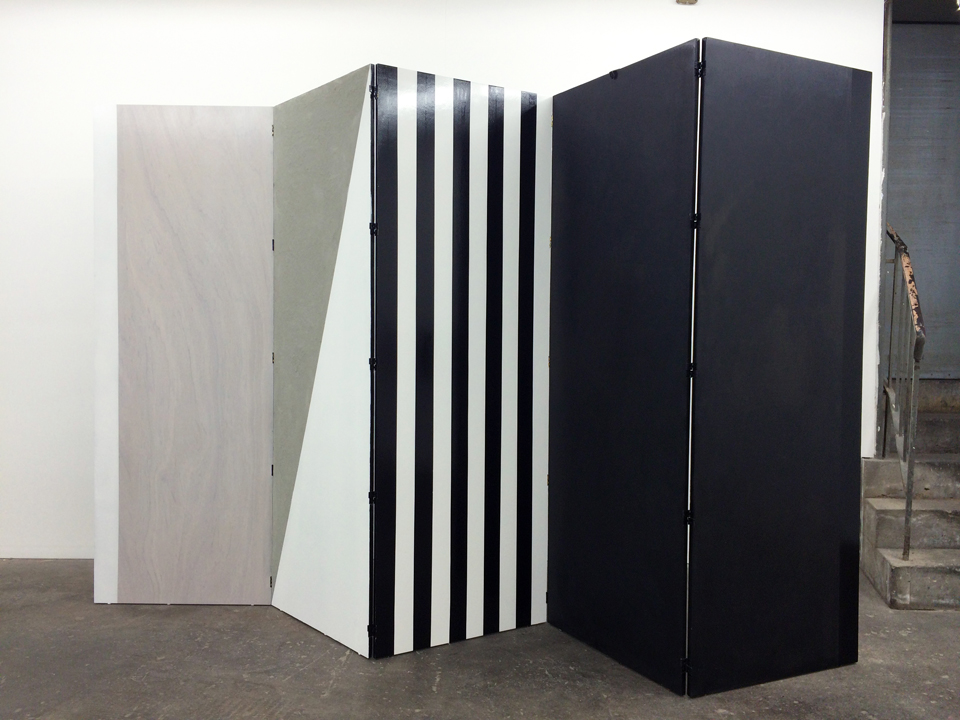 Nora Shields, Divider 1, forever and..., 2015 Wood, cement, acrylic paint, lacquer aluminum, and spray paint
