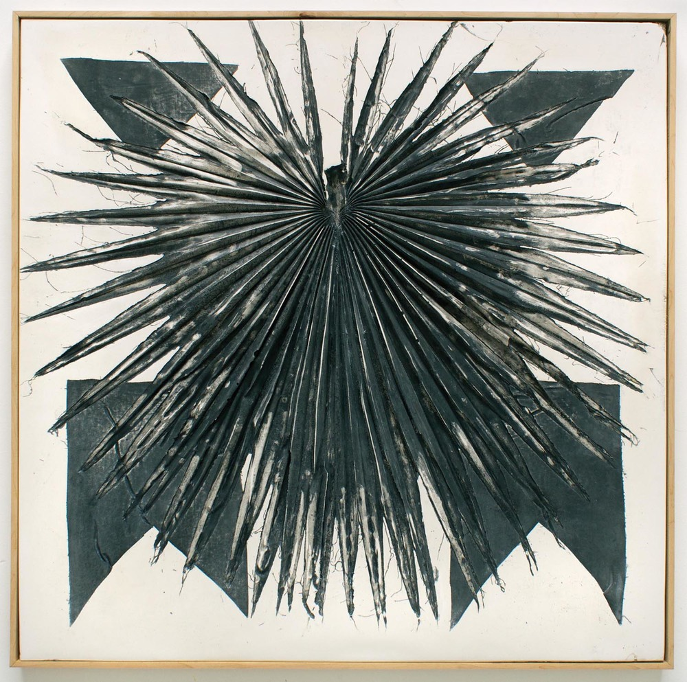 Erin Morrison, Black Palm (No. 2), 2015 ink and wax on hydrocal in maple artist frame