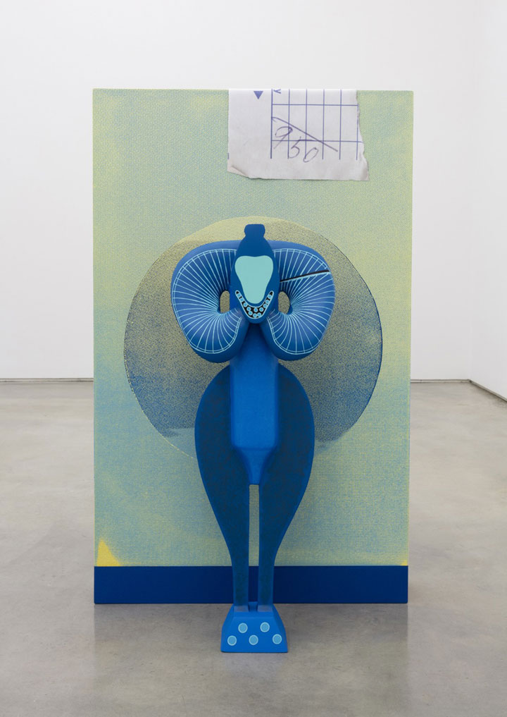 Moons of Hesperia, 2015  Polychromed aluminum, silkscreen on polychromed wood, inket on compression jersey.  57 x 35 x 24 inches