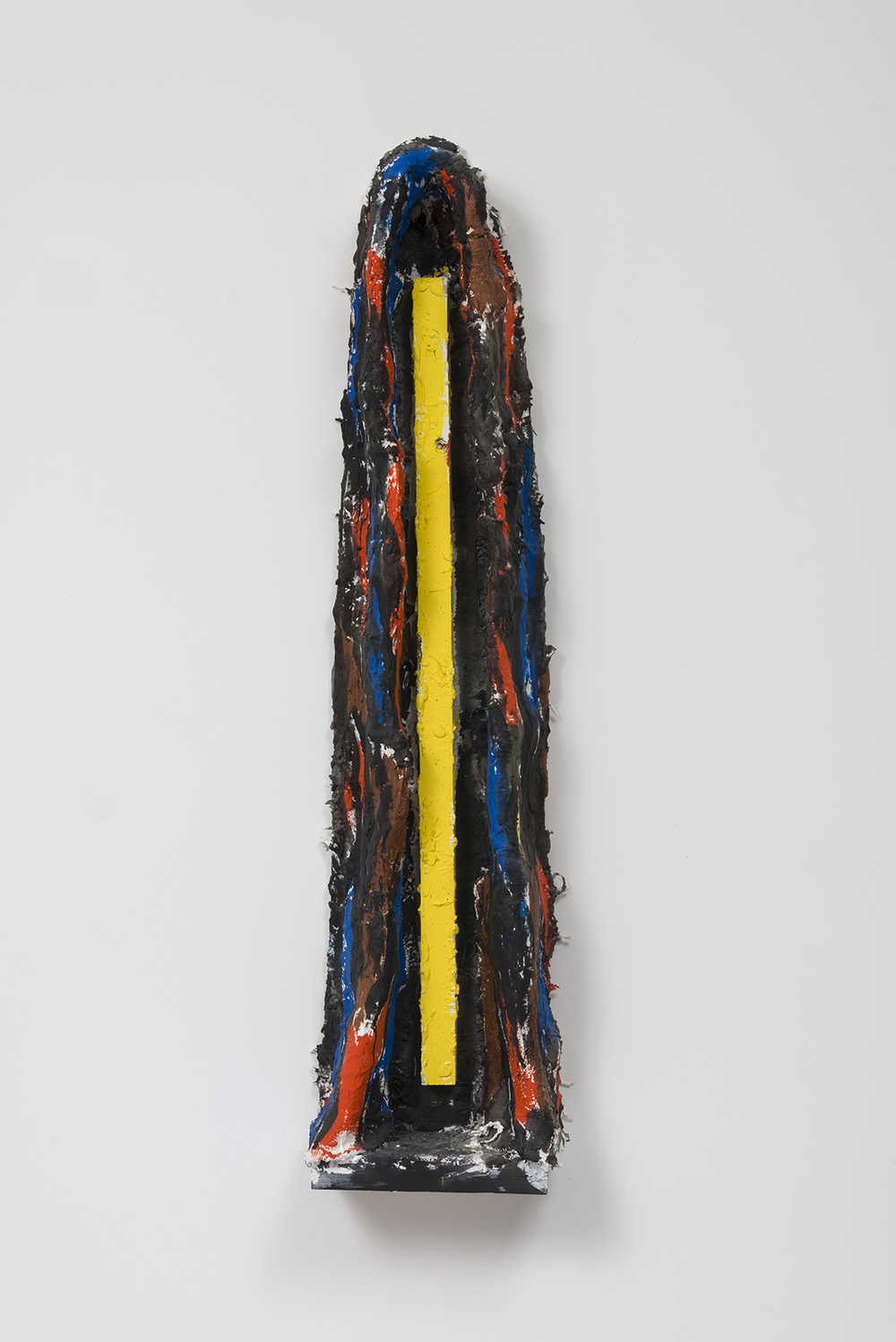 Untitled (Cave 5), 2015  Wood, plaster, burlap, chicken wire, and oil enamel.  46 x 11 x 6 inches