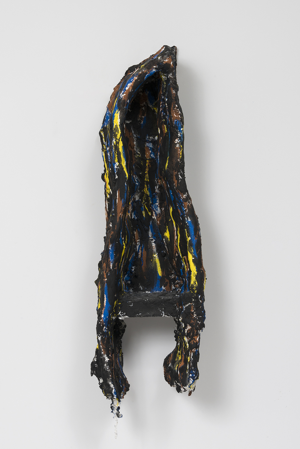 Untitled  Wood, plaster, burlap, chicken wire, and oil enamel.  32 x 9 x 9 inches