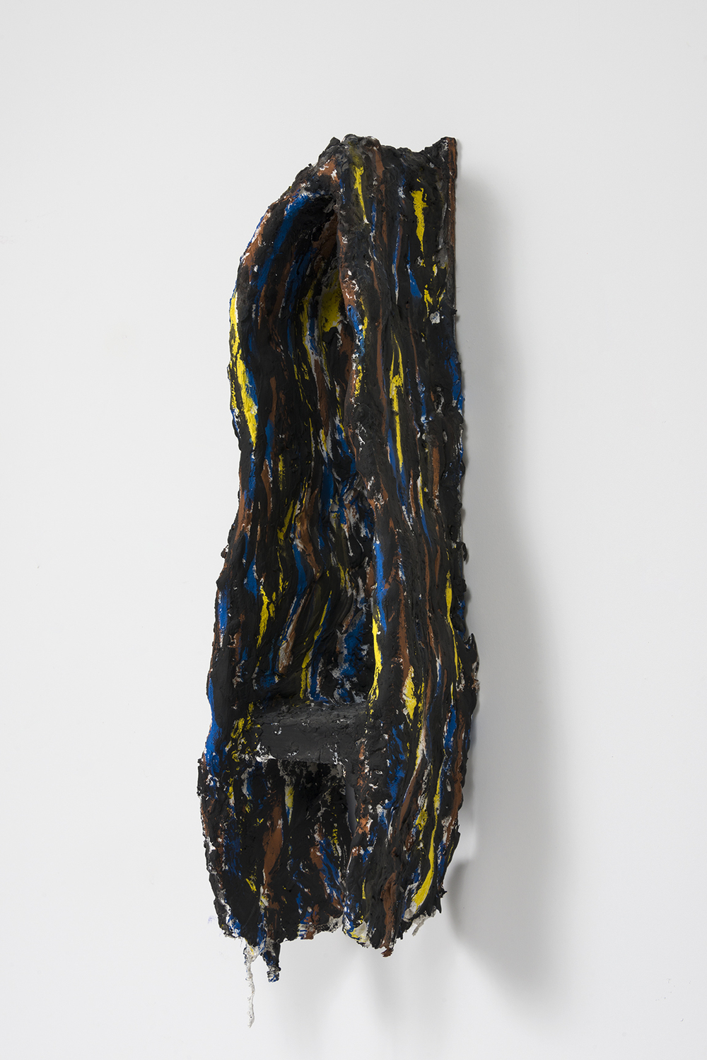 Florian Morlat - Untitled (Cave 6) - 2015 - Wood, Plaster, burlap, Chicken wire, Oil Enamel - 32 x 9 x 9""
