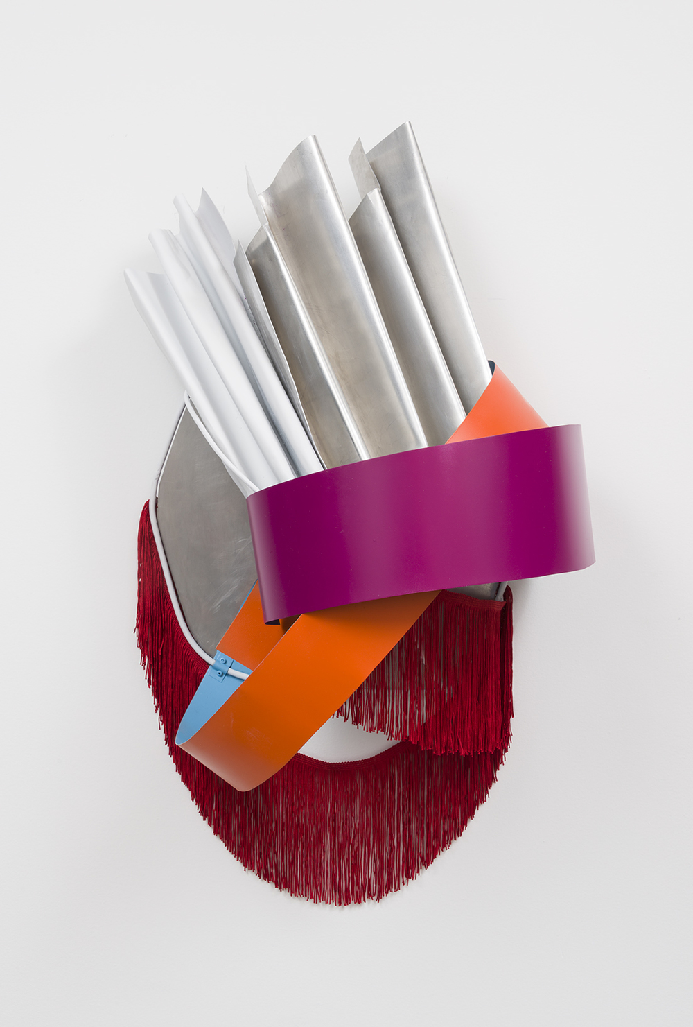 Untitled (Metal Relief), 2016  Acrylic, stainless steel, fringe, and aluminum  34 x 16 x 12 inches