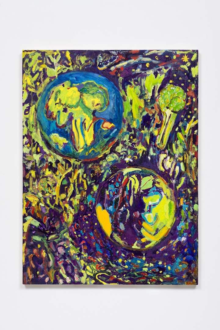 "Adrianne Rubenstein, Broccoli Planets, 40 x 30"", oil on panel"