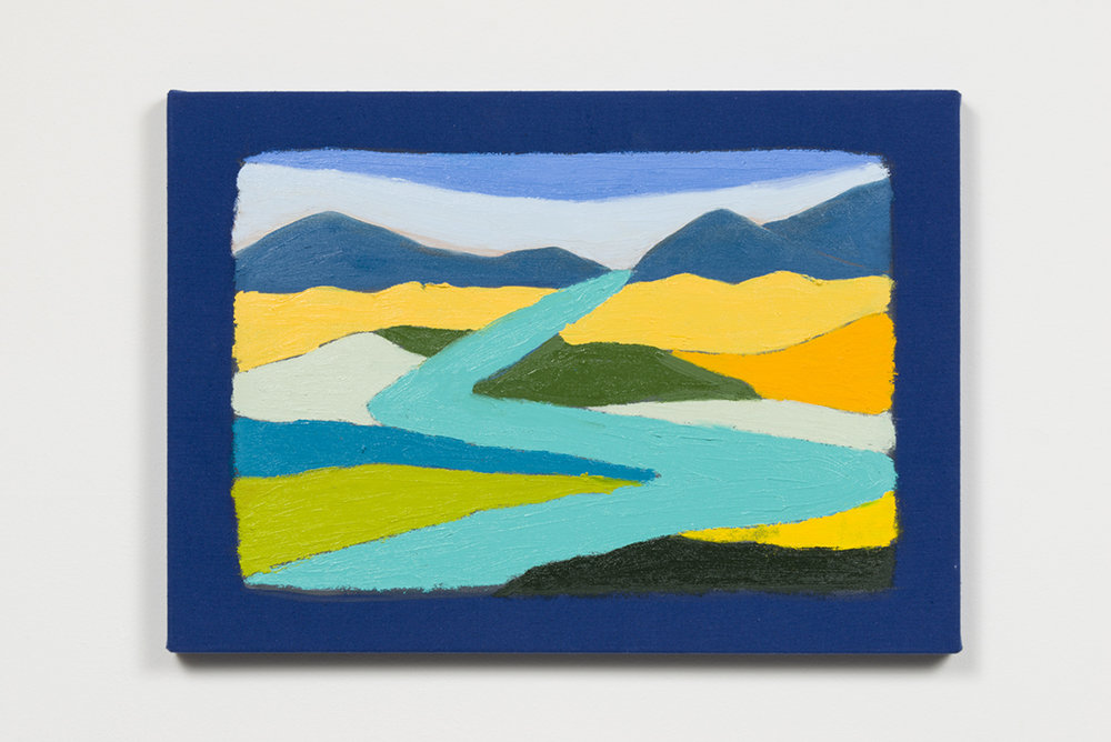 Stanya Kahn, Land (Blue River), Oil on canvas, 14.5 x 20.5""