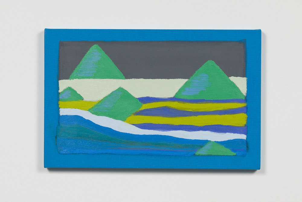 Stanya Kahn, Land (Green Hills / Ice River), Oil on canvas, 13.75 x 19.5""