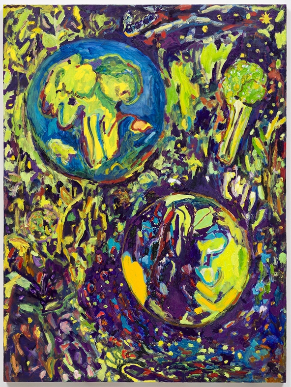 Broccoli Planets, 2016  Oil on panel  40 x 30""
