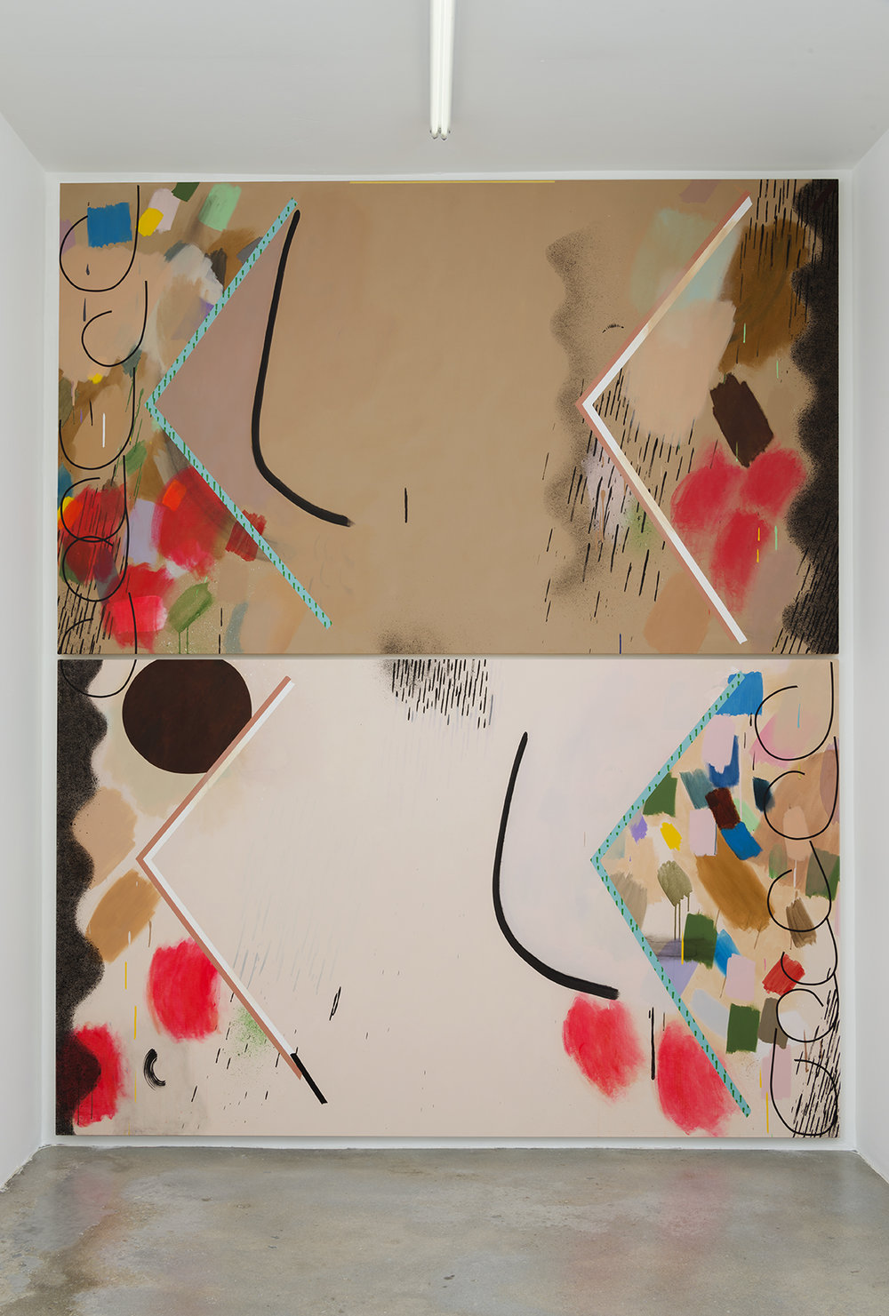 Bed, 2016 Oil, oil stick, acrylic and collage on two canvases 113 x 93 inches overall, 56.5 x 93 inches each