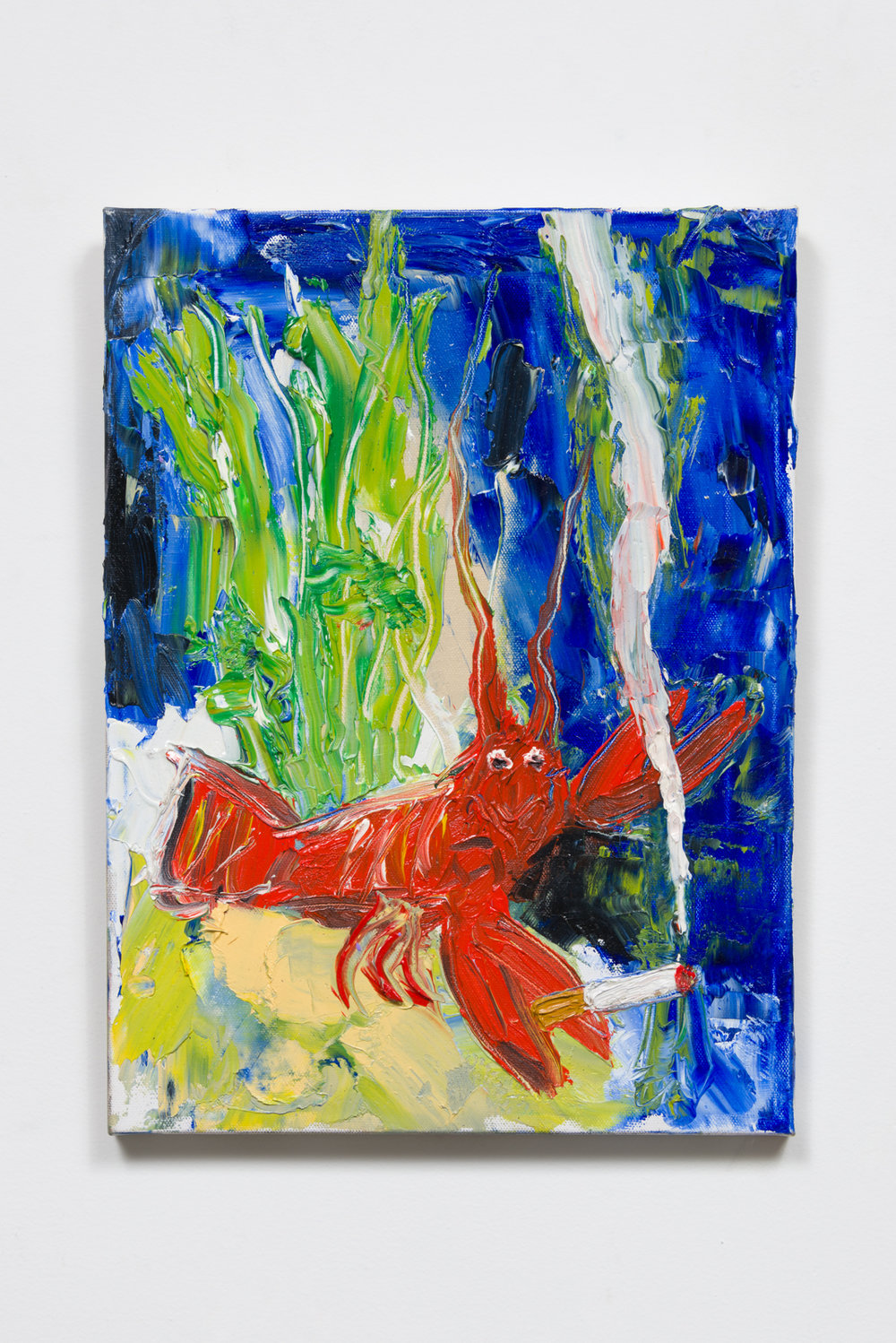 A lobster smoking a cigarette, 2017  Oil on canvas  16 x 12 x 1 inches