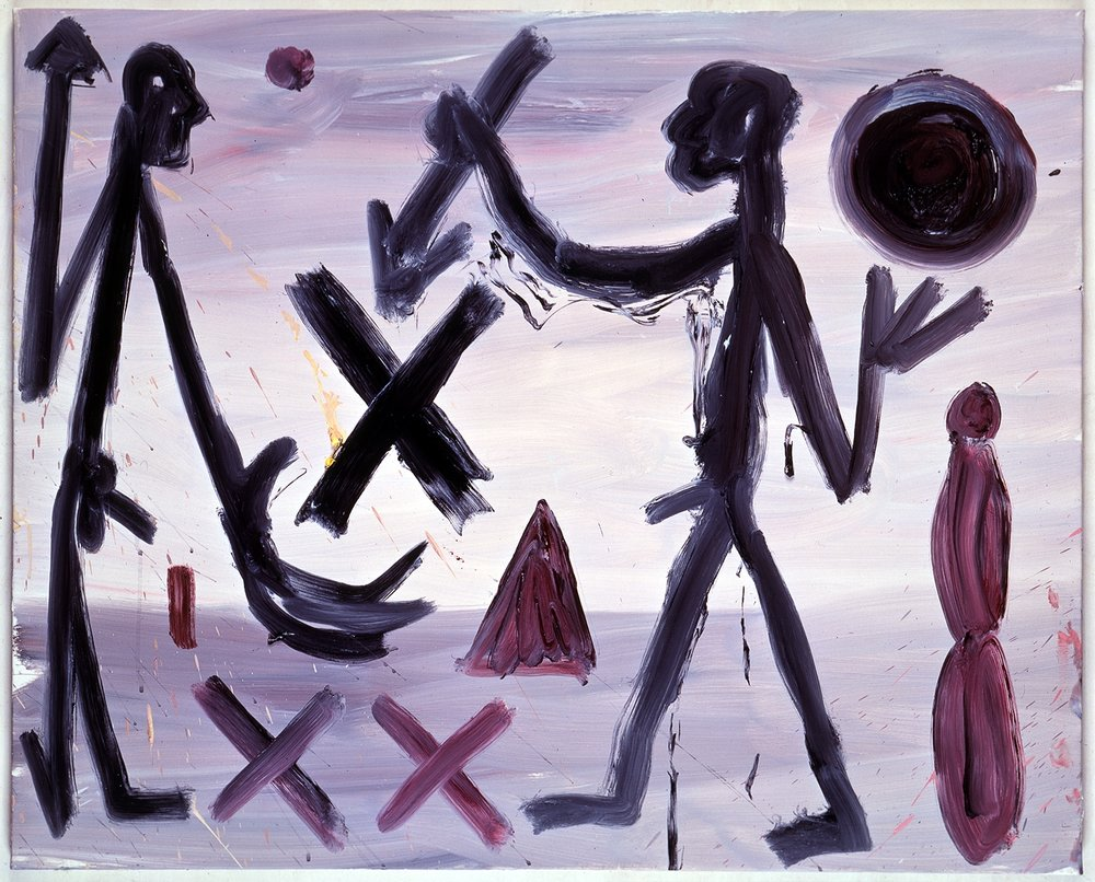 A.R. Penck, Terminate the X(VII), 1989, oil on canvas, 31.5 x 39.25 inches