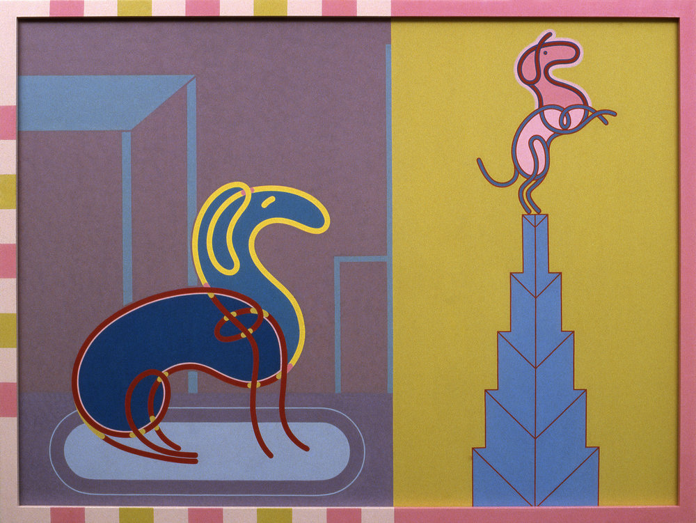 Barbara Rossi, Dog Gone Heads or Tails (Dogs-Matic), 1982 Acrylic on Masonite panel in artist's frame 36 x 48 x 2 inches