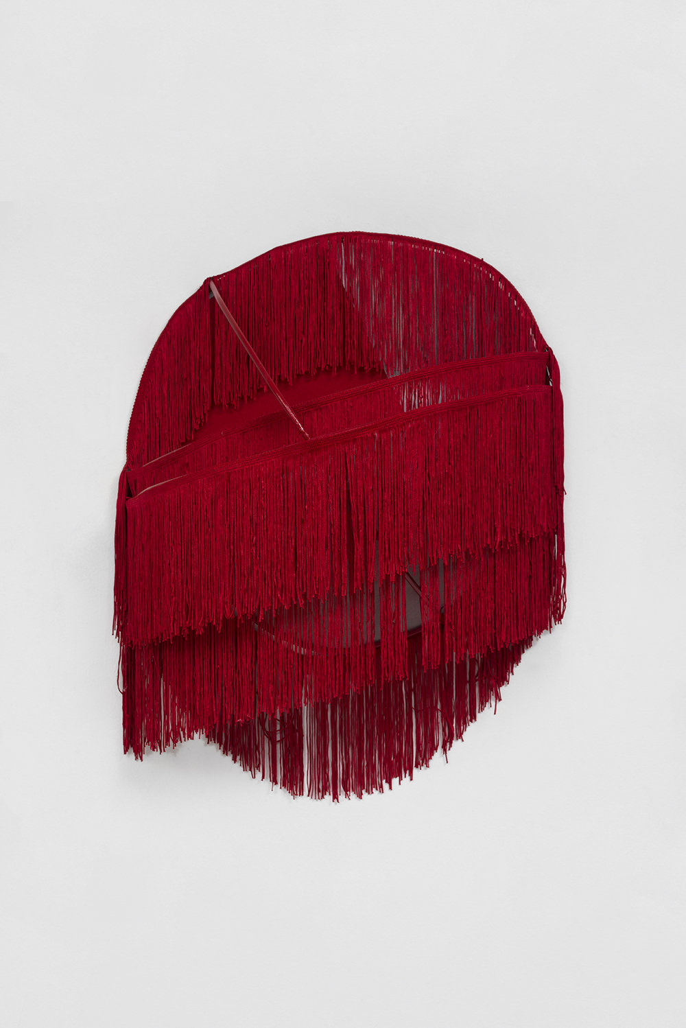 And She was She (Red), 2016  Welded stainless steel, acrylic paint, aluminum, felt, and fringe  28 x 19 x 8 inches