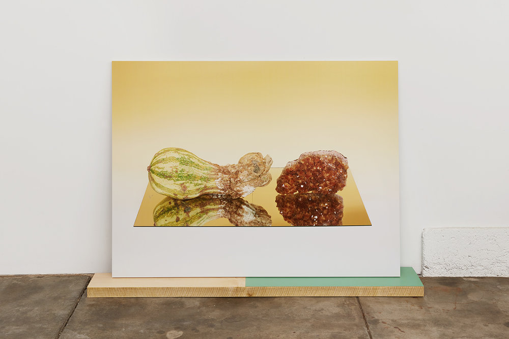 Untitled (Half moldy squash and Citrine on mirror),  2016  Pigment Print mounted on aluminum on panel on maple block with laminate  40 x 53 x 1.25 inches (photograph)  6 x 60 x 2 inches (base)