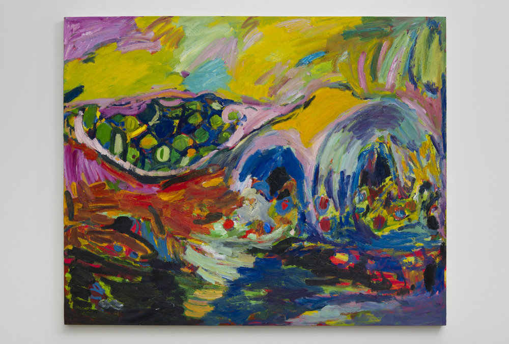 Adrianne Rubenstein  Senosiain Huts, 2018  Oil on panel  38 x 47 inches