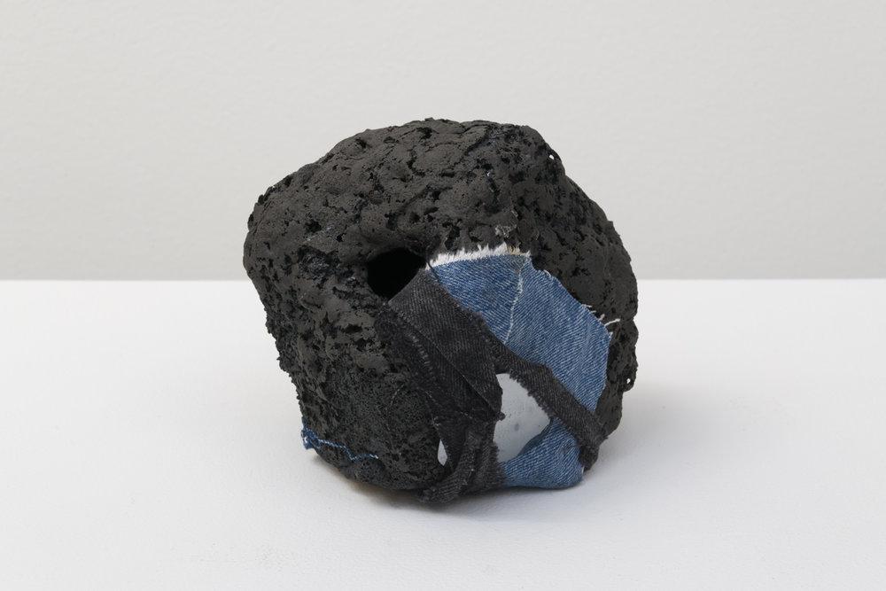 """Anna Sew Hoy & Tony Marsh  TONNA Moonrock, 2018  Fired clay and glaze, denim, sun glass lens  6.5 x 7 x 6.75"""""""