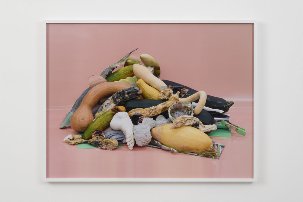 Heather Rasmussen, Untitled (Pink pile with three hands / cameras), 2018. Pigment print, 36 x 48""