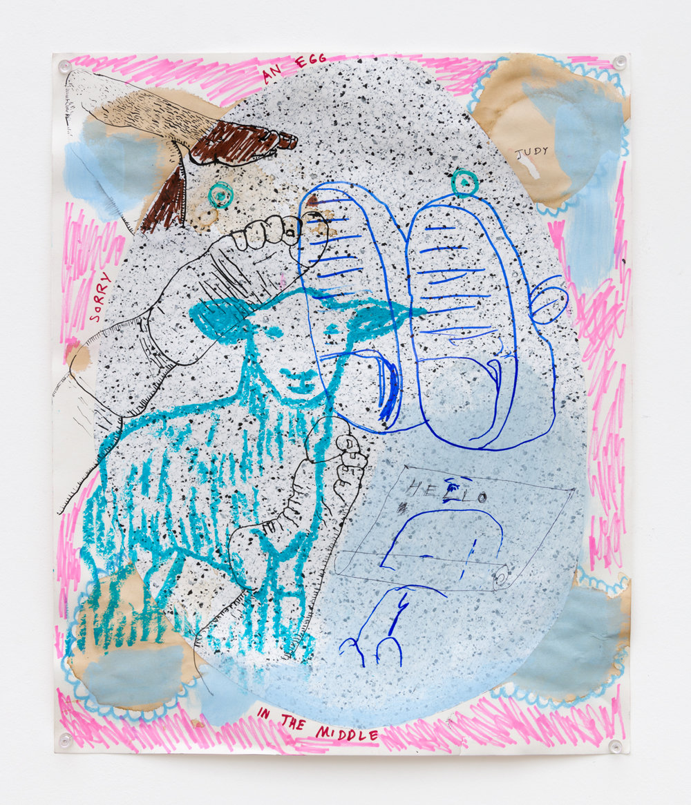 Benjamin Weissman & Ravi Jackson  Untitled, 2017  Pastel, pencil, marker and watercolor on paper  17 x 14 inches