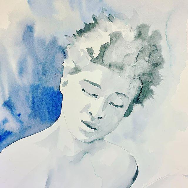 20 minute poses at #artstudentsleague • • • #morningsketch #artstudentsleague #20minuteposes #makingamess #portraiture  #watercolor #watercolorportraits #illustration #emilybakerstudio