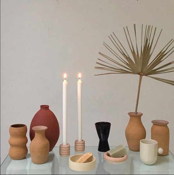 TAPER CANDLE HOLDERS FROM  RACHEL SAUNDERS CERAMICS .