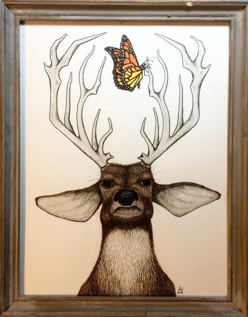 Deer + Butterfly Framed Original Illustration — MATTHEW WOODS ART