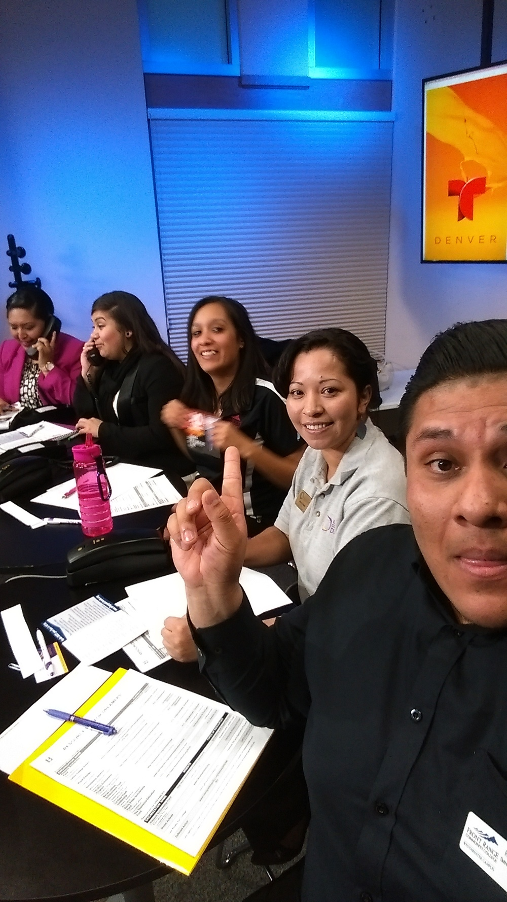 Tuesday, January 20, 2015 volunteers, left to right: Christian Gonzalez, Ana Ramirez, Veronica Estrada, Julia Montijo, and Rigo Rangel   answered   financial aid questions from our Latino community at Telemundo, in promotion of College Goal Colorado 2015.