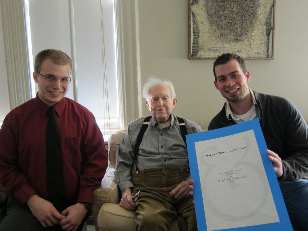 Presenting Elliott Carter with his 103rd birthday card.
