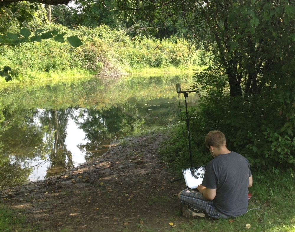 Recording bullfrog sounds at the 'Secret Garden' at the Stone Quarry Hill Art Park.