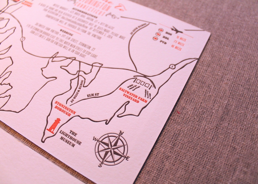 Hand-drawn two color letterpress custom map highlighting venues for the wedding weekend itinerary.