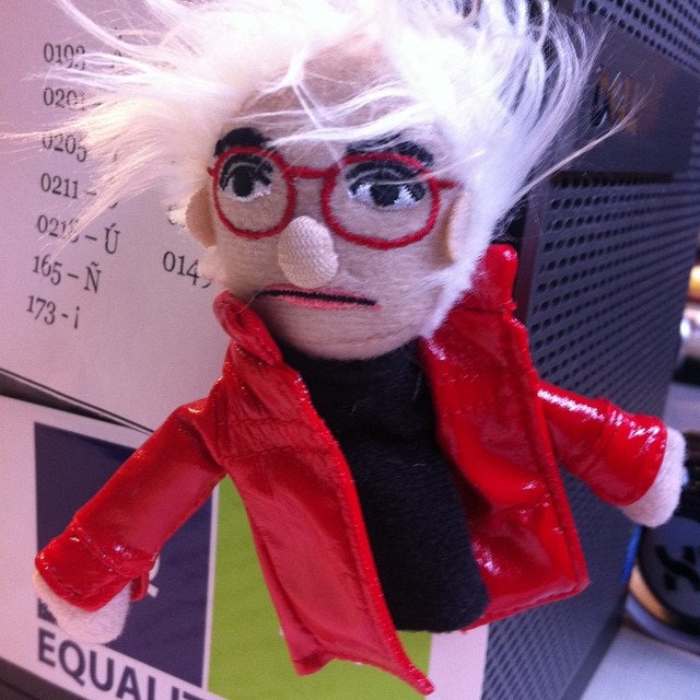 I can't decide whether this little finger puppet looks more like Andy Warhol or Bea Arthur, but it makes me happy. #ambiguous #puppet