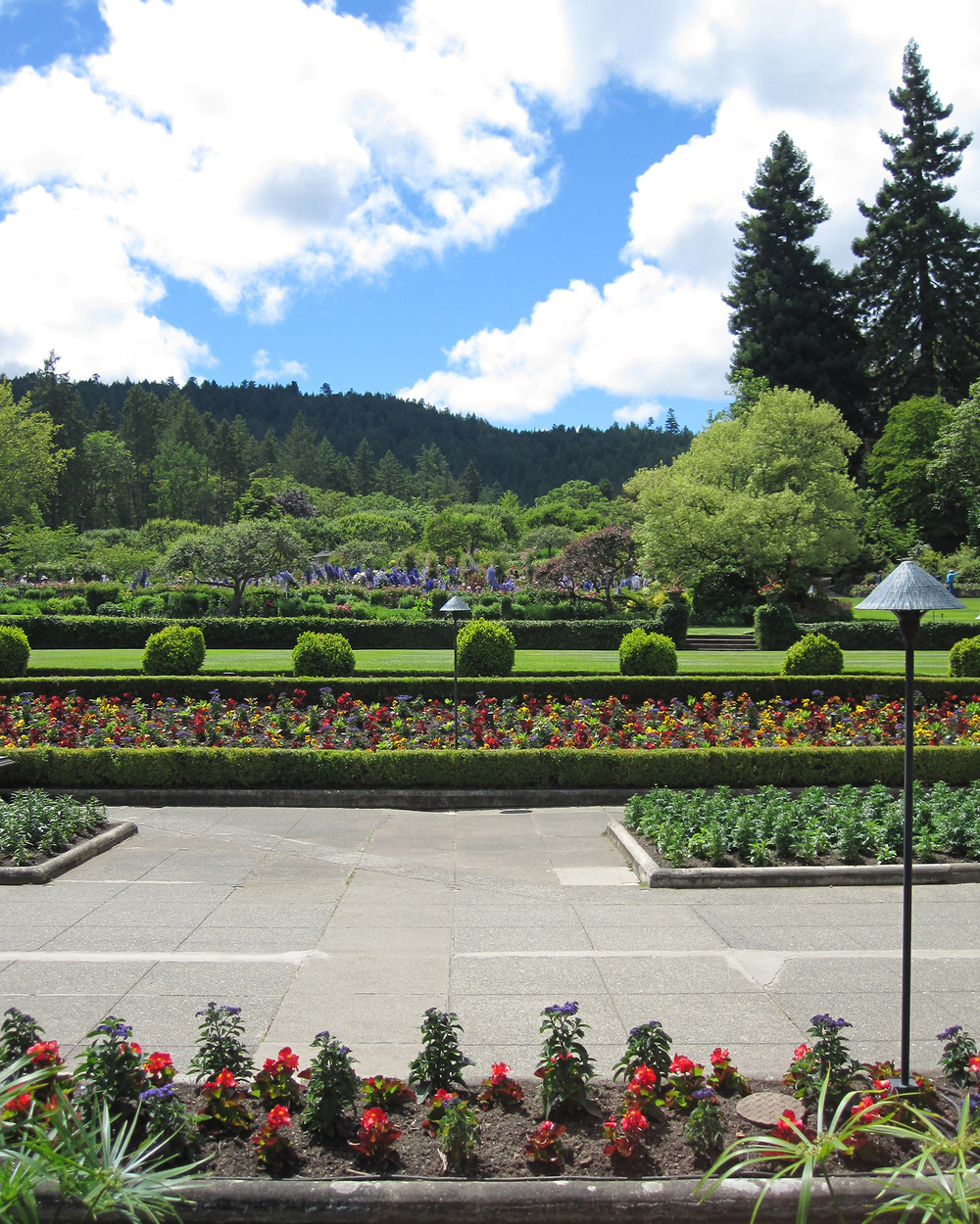 Looking across the Italian Garden, Butchart Gardens in Victoria, B.C.