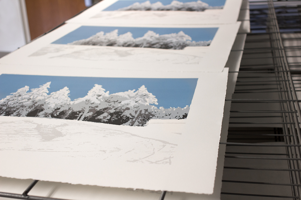 The sixth color of  Snowy Pines  on the drying rack in the silkscreen studio