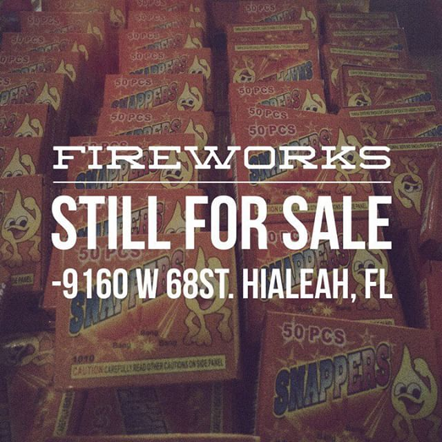 Last day to purchase your fireworks. Come on out to the Relevant Missions Team tent located at 9160 W. 68th Street, Hialeah, FL