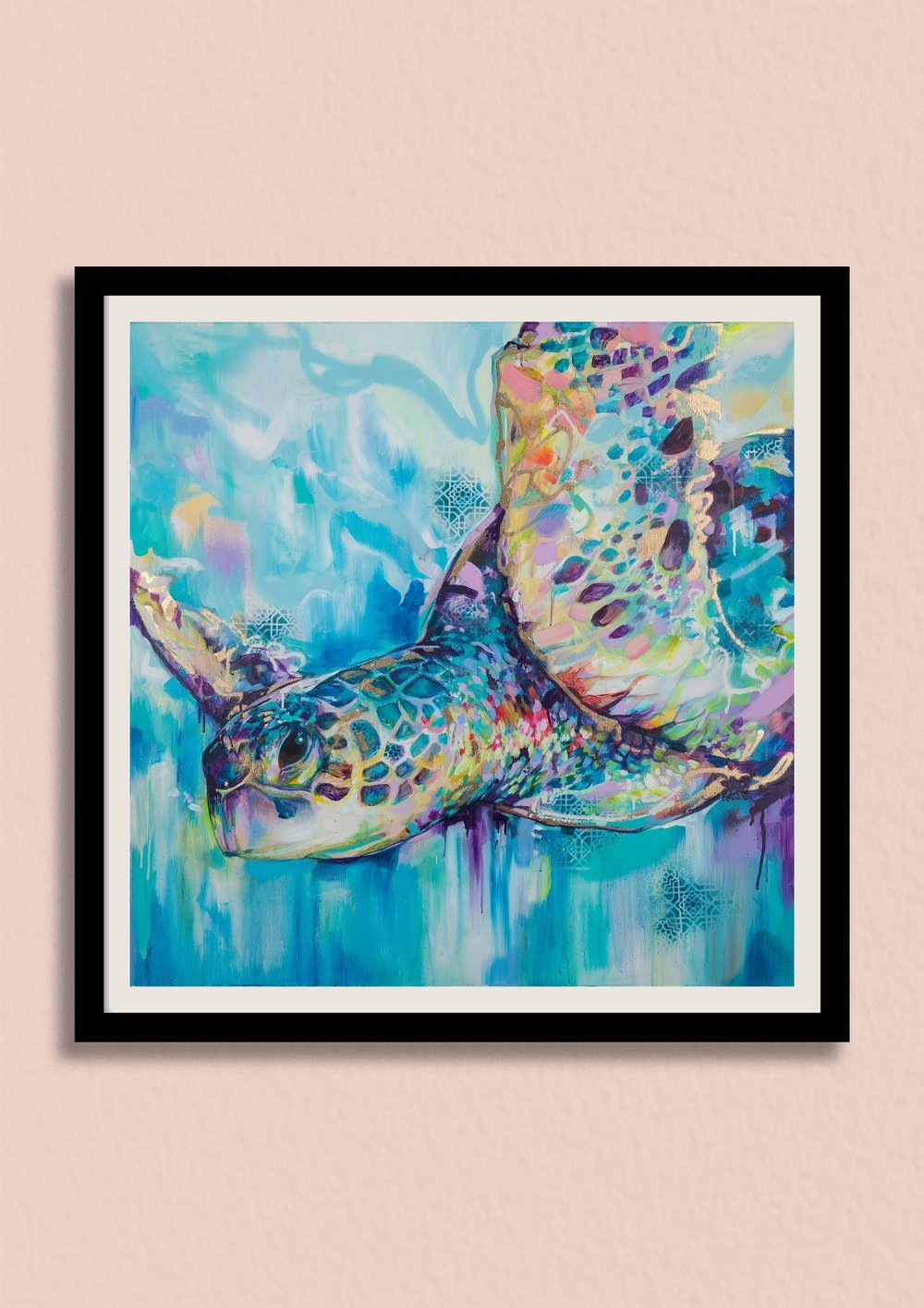 INTO THE BLUE - Dive into a sea of colour. You'll love this unique sea turtle art print that celebrates the beauty of the ocean.Unframed giclée print £150Framed giclée print £220
