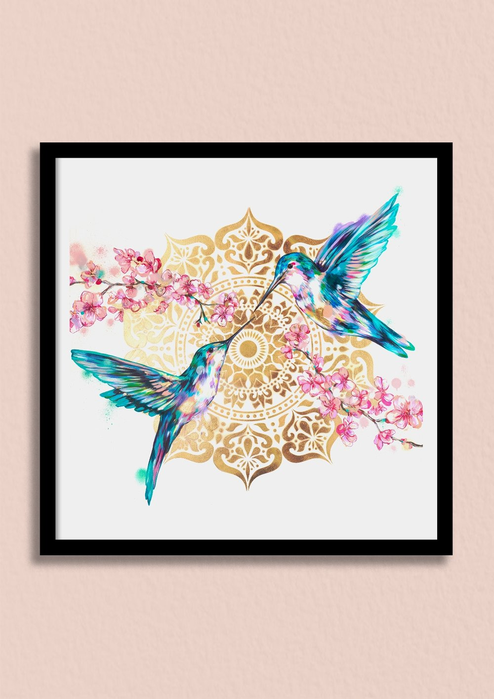 SUNLIT SAKURA - Be inspired by the sheer beauty and symbolism of hummingbirds and Japanese sakura blossoms.Unframed giclée print £150Framed giclée print £220