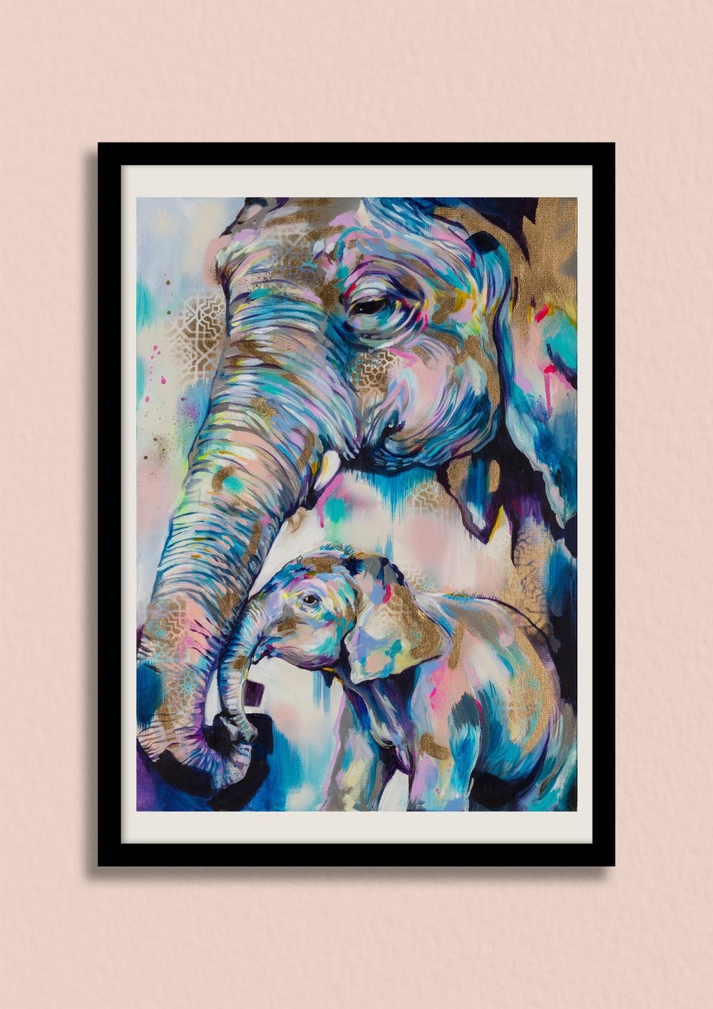 HOLD ON - This tender elephant artwork channels the sadness and fragility of life.Unframed giclée print £150Framed giclée print £220