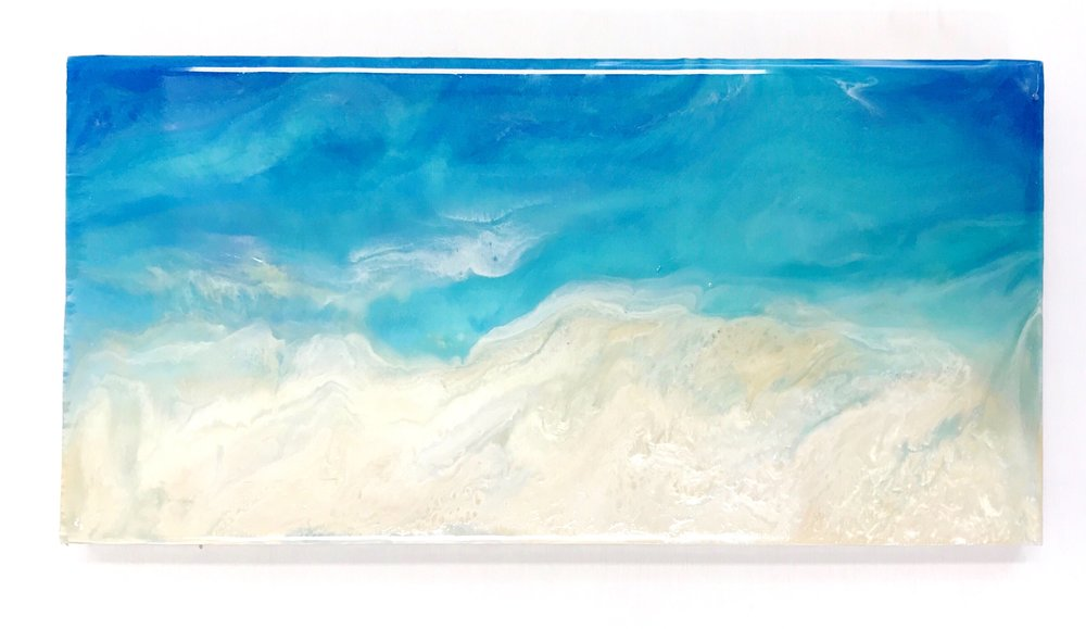 "Aegina II   Original Artwork  Acrylic on Canvas  14"" x 7"" x .75"""