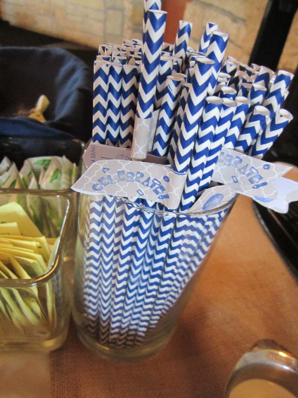 Color Coordinating Celebration Straws at a recent wedding reception at the Crown Room Banquet Center in Rogers, MN.