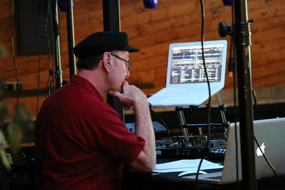 Kevin Dyer of Dyer Soundworks getting organized behind the scenes.