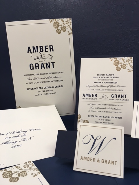 Wedding Invitations with Metallic Gold Ink by Rengel Printing Company