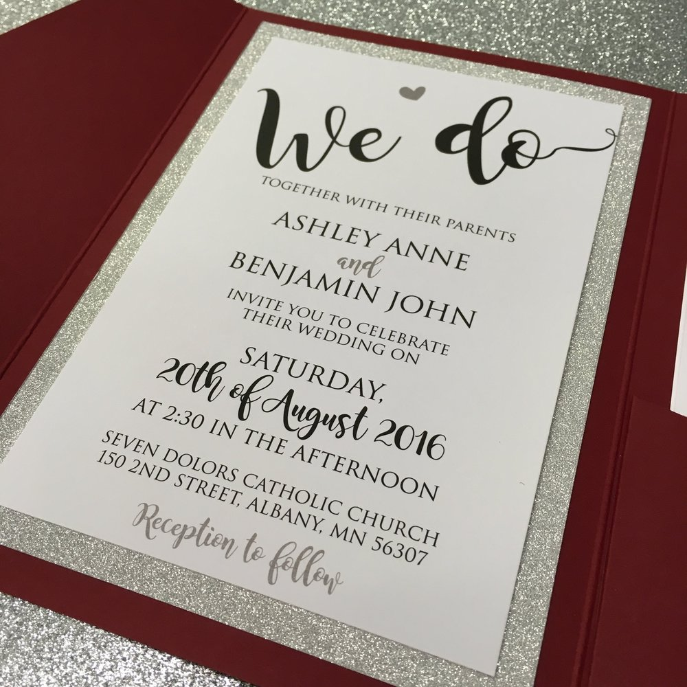 Custom Wedding Invitations with Glitter Paper by Rengel Printing Company