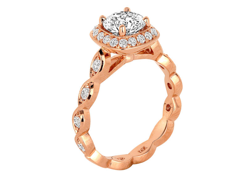 Rose Gold Halo Engagement Ring from J. F. Kruse Jewelers