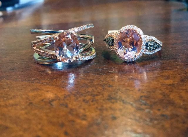 Morganite Rings in Rose Gold from D. J. Bitzan Jewelers