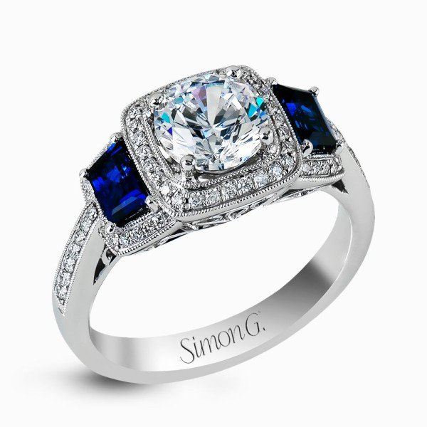 Engagement Ring with Blue Sapphires from J. F. Kruse Jewelers