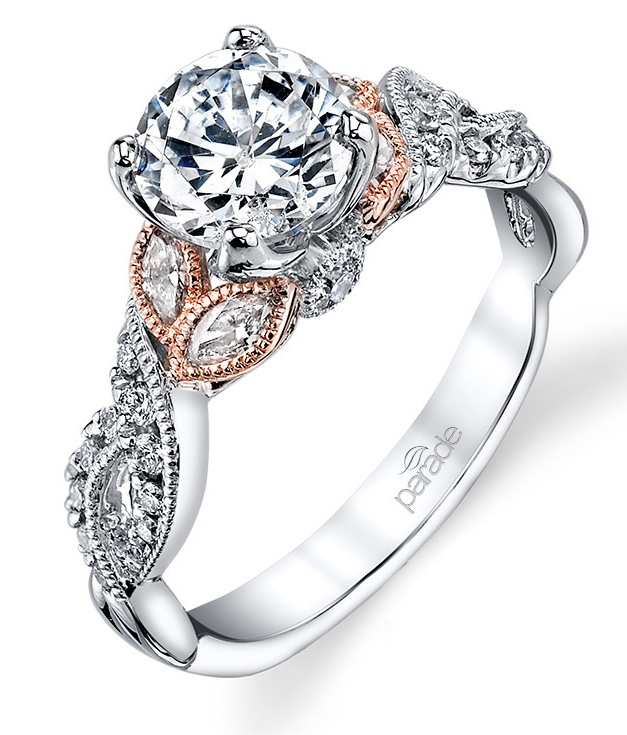 Parade Design, 18Kt White gold engagement ring with rose accents from D. J. Bitzan Jewelers.