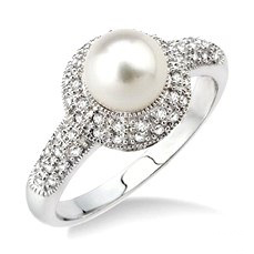 Pearl and diamond ring from D.J. Bitzan Jewelers.