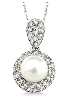 Pearl and diamond pendant from D.J. Bitzan Jewelers.